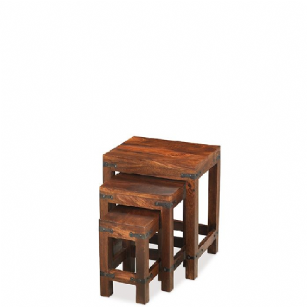 Jali Sheesham Wood Nest of 3 Tables